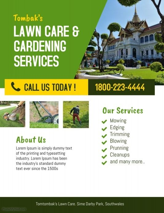 lawn care garden landscaping services flyer template lawn care