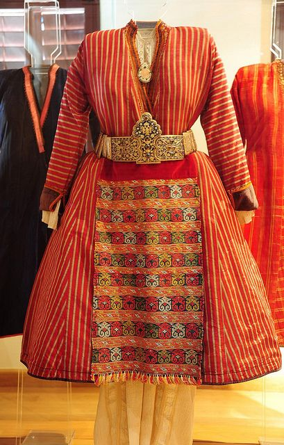 Traditional dress from North Greece  100% silk. Handwoven Hand spun Hand dyed  From the 19th century Soufli museum North Greece