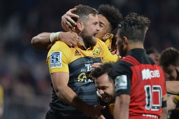 Callum Gibbins Photos Photos - Callum Gibbins of the Hurricanes celebrates scoring a try during the round 17 Super Rugby match between the Crusaders and the Hurricanes at AMI Stadium on July 16, 2016 in Christchurch, New Zealand. - Super Rugby Rd 17 - Crusaders v Hurricanes