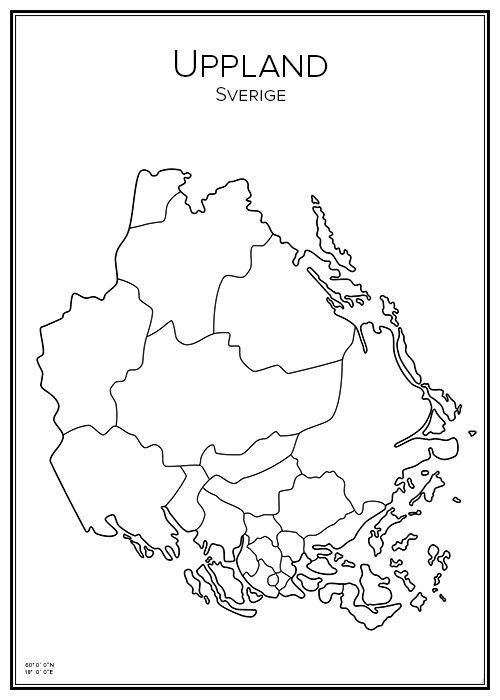 Uppland. Stockholms län. Svealand. Uppsala län. Sverige. Map. City print. Print. Affisch. Tavla. Tryck. Stadskarta.
