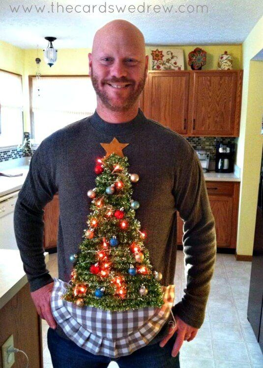 This ugly Christmas sweater idea comes with working Christmas lights.