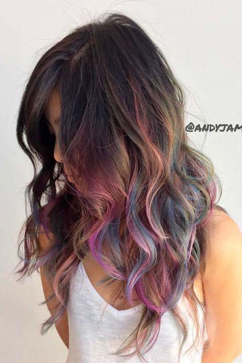 dunkle haar Haare brünett Mädchen 55 Fabulous Rainbow Hair
