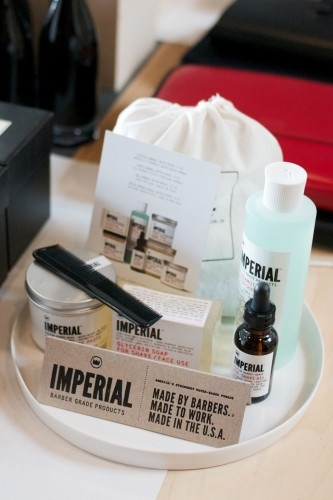 Imperial Barber Supply shave and hair bundle, available at Garde.