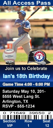 Texas Rangers Baseball Theme Birthday Party Invitations 2.5 x 6 inch Ticket Style Personalized