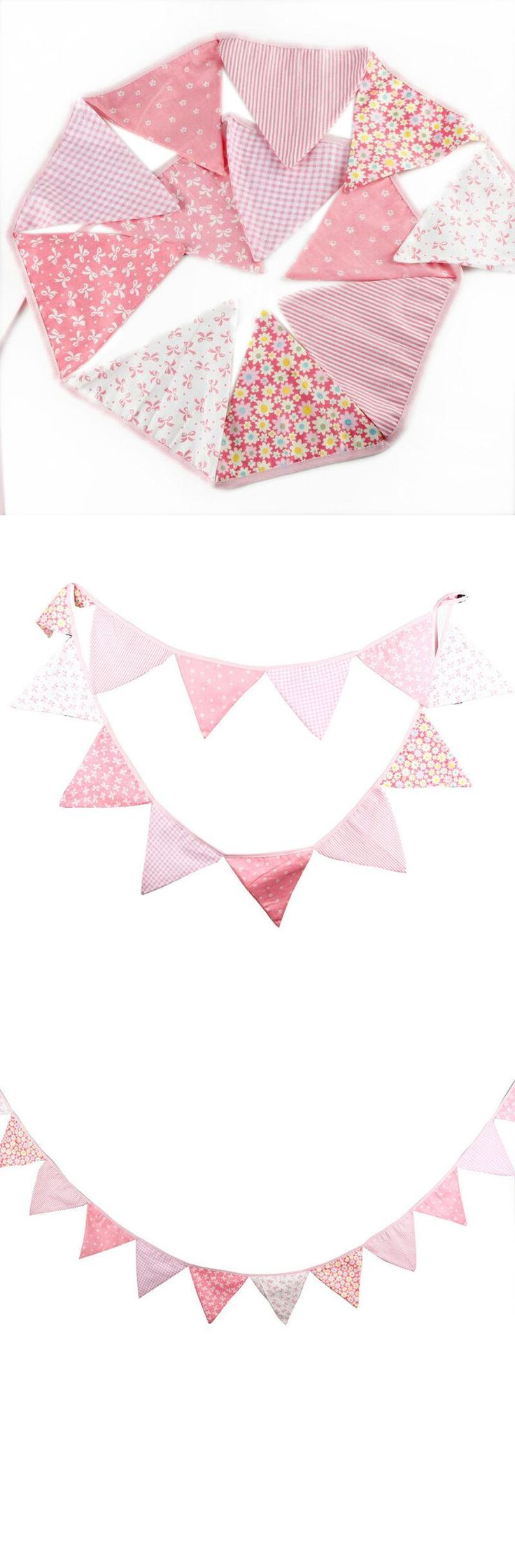 3.3 m Multicolor Handmade 12 flags Bunting Double side Fabric Flag Banner Garland Wedding Party Decoration event party supplies