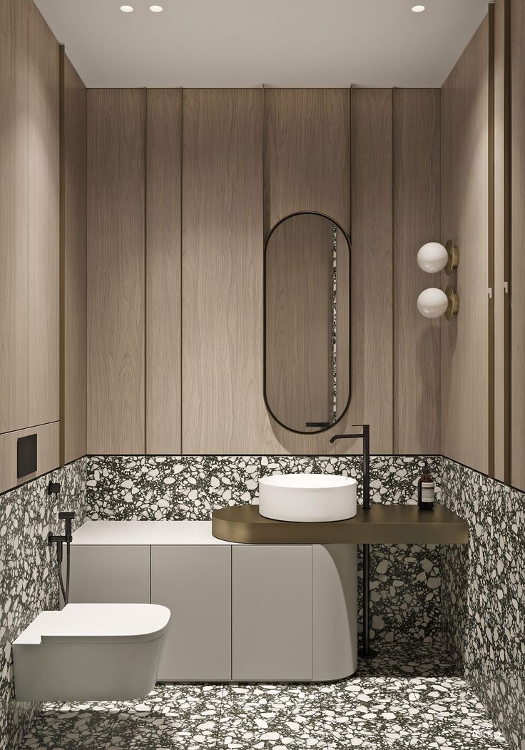 Marbled And Modern Interior Design In Moscow Bathroom