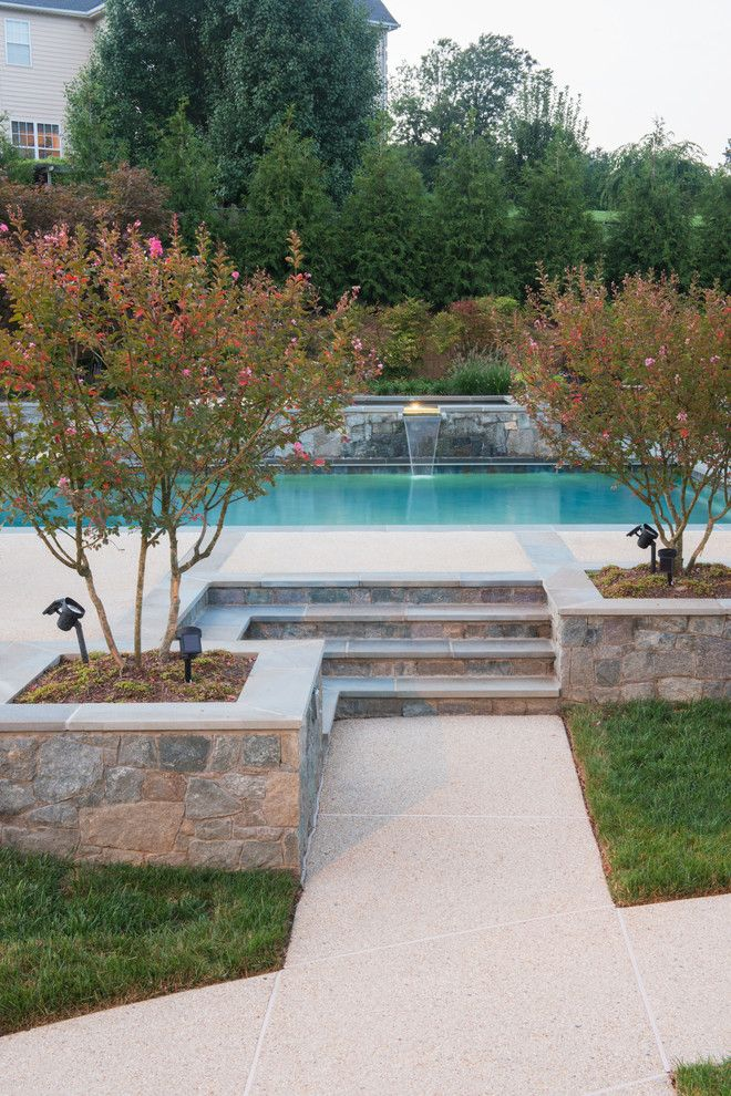 marvelous above ground pool stairs in pool contemporary with stone waterfall next to pool privacy trees