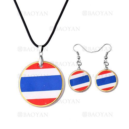 juego collar y aretes de bandera tailandia en acero plateado inoxidable -SSNEG503530