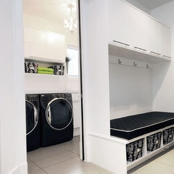Built in laundry area place for kids schoolbags