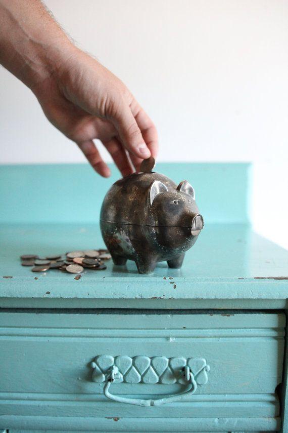 Vintage silver metal pig piggy bank vintage pig by ZinandHoney