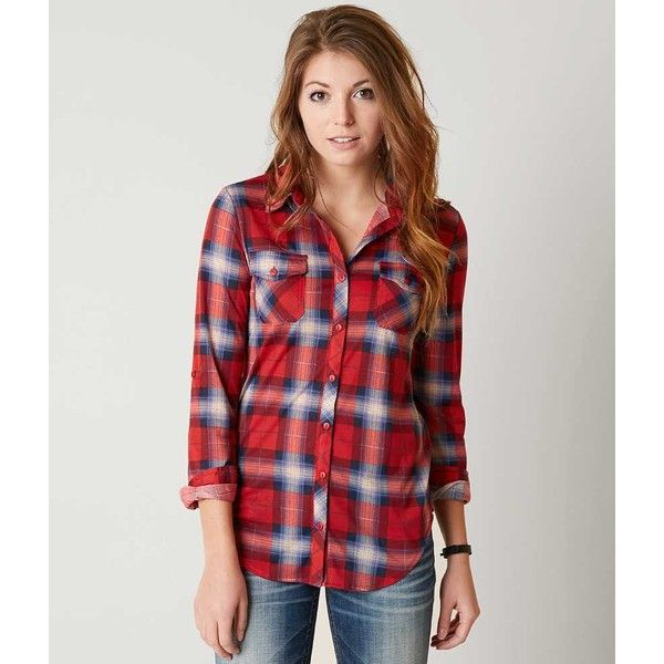 Passport Plaid Shirt - Red Large ($25) ❤ liked on Polyvore featuring tops, red, red top, knit shirt, red tartan shirt, knit top and tartan shirts