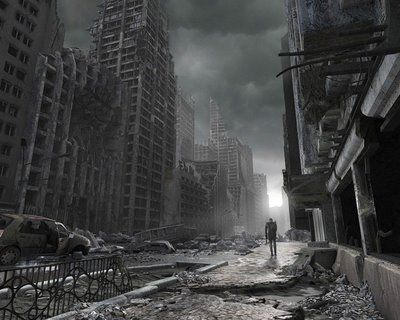 person walking on post apocalyptic street