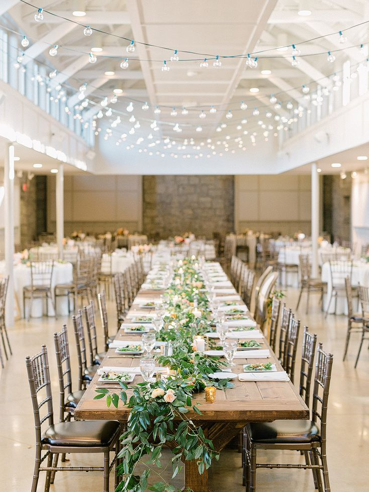 minimal rustic wedding reception with twinkle lights | Photography: Elizabeth Marie Weddings + Events