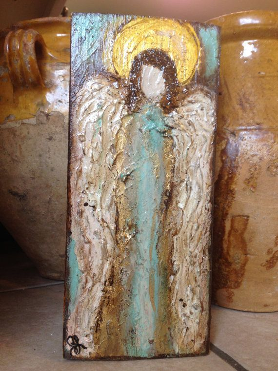 Handmade Original Textured Painting of an Angel by ThreeTomatoes