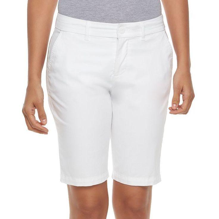 Women's Croft & Barrow® Twill Bermuda Shorts, Size: 16 Avg/Reg, White