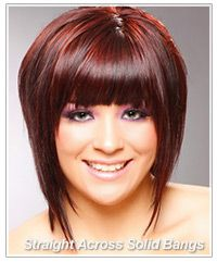 Stacked Bob With Bangs For A Fuller Face | ... face shape and create a square shape across the top half of your face