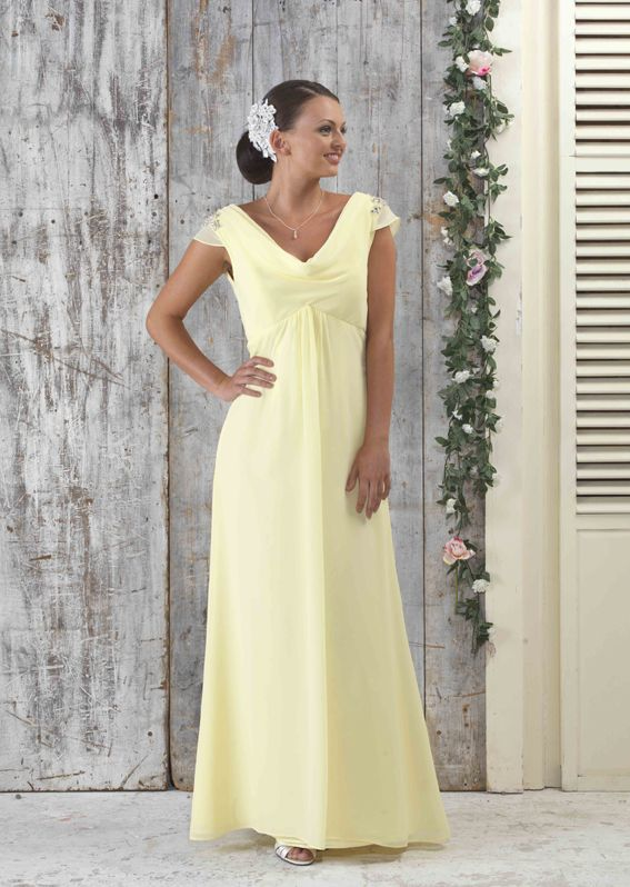 EN342 Chiffon Cowl Front bridesmaids dress with Beaded Shoulders