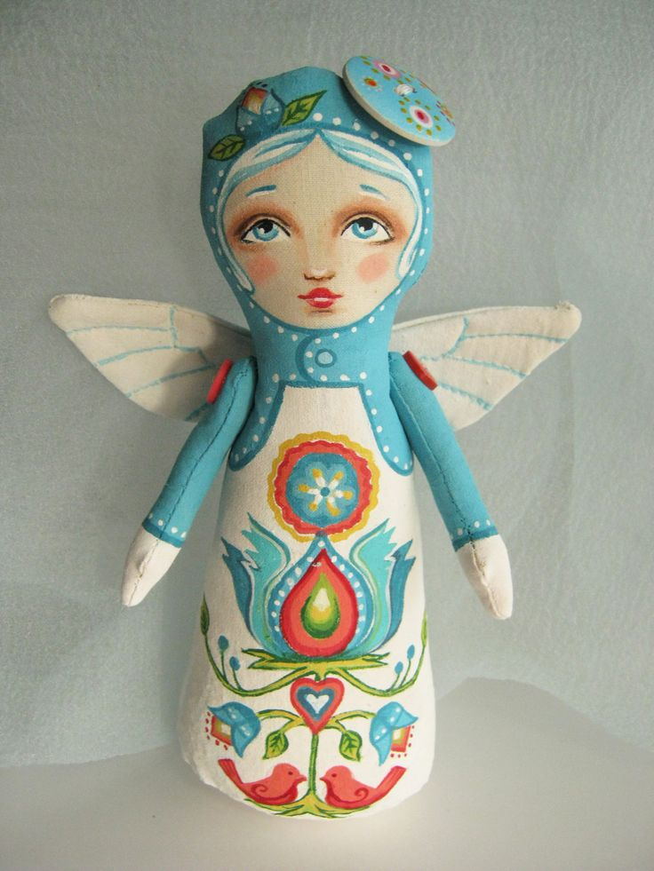 Kurbits inspired angel stump doll by Hally Levesque of Creative Doll Works