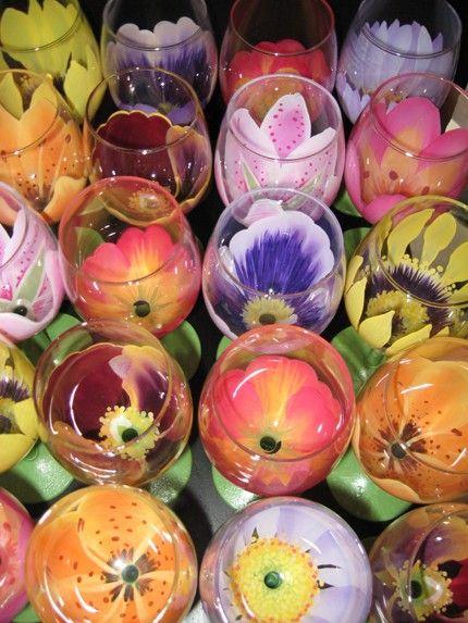 Verre vin fleuri choisir toute livraison par thepaintedflower