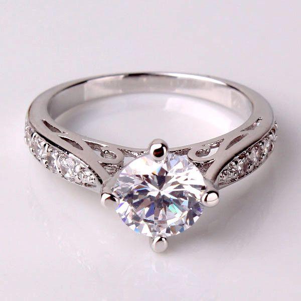 Vintage Filigree Channel Set Round CZ Solitaire Engagement Ring