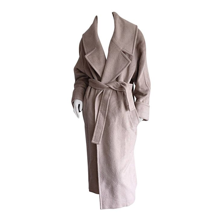 Stylish Vintage Guy Laroche Alpaca + Wool Taupe Wrap Blanket Jacket / Coat 1