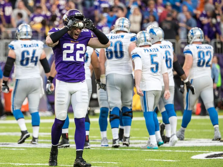 Lions vs. Vikings:  22-16, Lions  -  November 6, 2016  -     Minnesota Vikings safety Harrison Smith reacts after a game-tying field goal from Detroit Lions kicker Matt Prater during the fourth quarter at U.S. Bank Stadium.  Brace Hemmelgarn, USA TODAY Sports