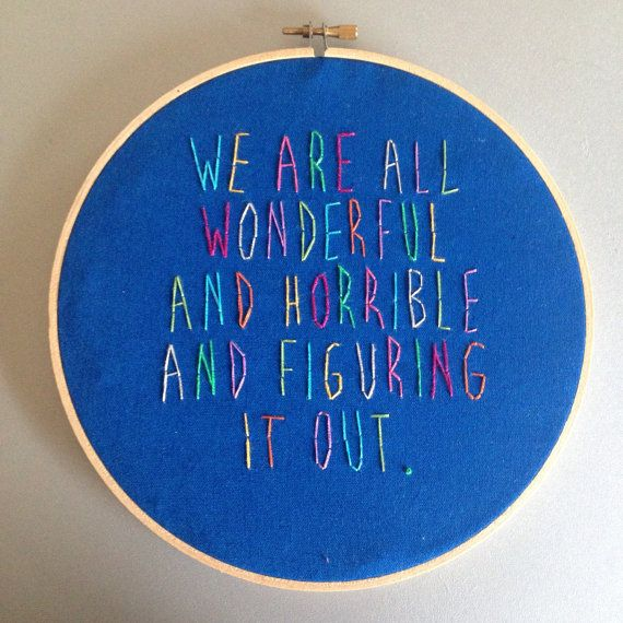 wonderful and horrible - hand drawn and embroidered Harris Wittels wall hanging