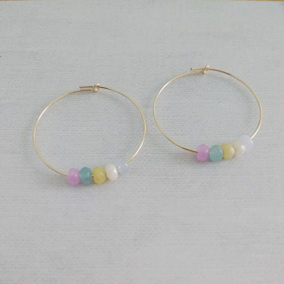 14K Gold Filled Small Hoop Earrings 30mm with Colourful Natural Beads! So cute! Our Varicolored stones 1487 https://www.etsy.com/listing/245618196/1487-varicolored-nephrite-stones-4x3-mm