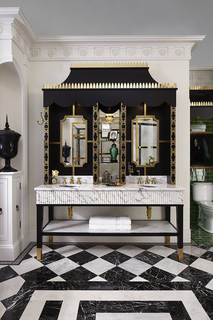 Sumptuous tudor style homes method philadelphia traditional bathroom - Glamorous Black White And Gold Details Are Piled On In This Gorgeous Classic Charleston Style Bathroom Designed By Susan Jamieson For The 2016 Shown