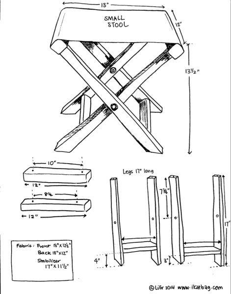 Banco dobrável de madeira. Banqueta dobrável de madeira. Folding stool