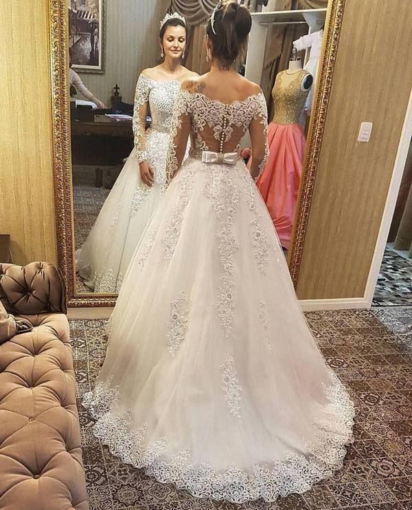 Vestido de noiva com mangas compridas, vestido de noiva elegante … 2019 …