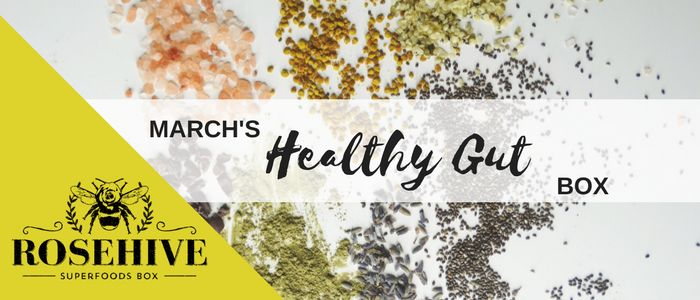 Rosehive Superfoods is a monthly {vegan} discovery box of superfoods, herbs, powders, snacks and cooking ingredients. Here is a peek inside March's Healthy Gut Box! www.RosehiveSuperfoods.com/March-Box/