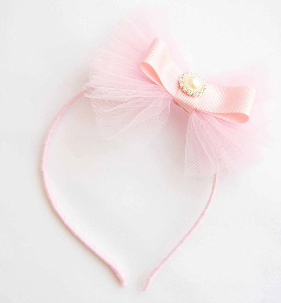 Pink Tulle Bow Chic Couture Headband Posh with  by cacababy