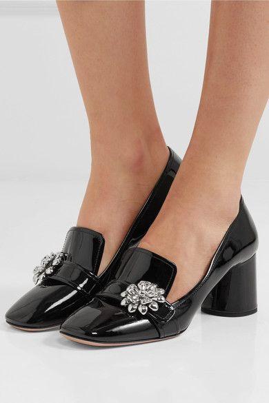 Prada - Embellished Patent-leather Pumps - Black - IT41.5
