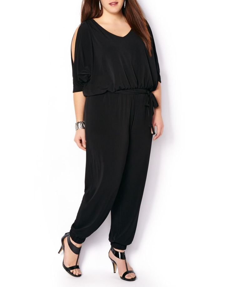 ONLINE ONLY - Elbow Sleeve Jumpsuit with Rhinestones | Penningtons | Slip into this stylish plus-size jumpsuit for an instantly chic (and effortless!) look. It features slit elbow sleeves, an elastic waistband, a V-neck, subtle key-hole opening at back, as well as sparkling rhinestone detail at shoulders and cuffs. Dress it up with heels and an elegant necklace.
