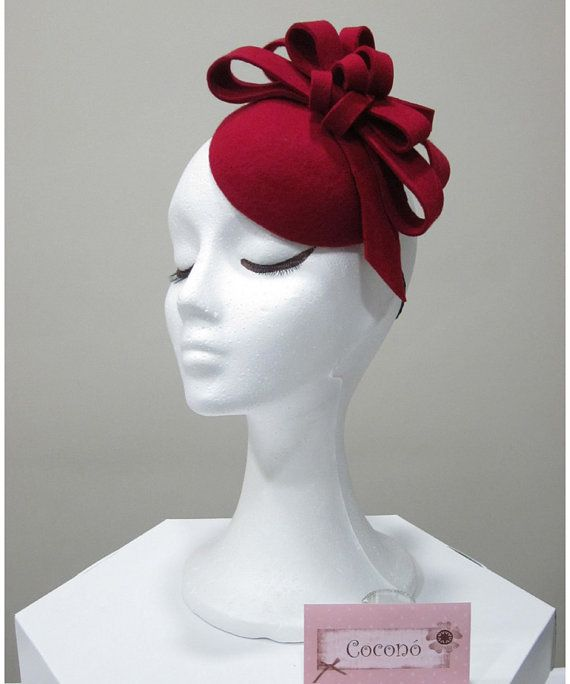 SAMPLE SALE. Red wool felt fascinator  Felt by CoconoMillinery