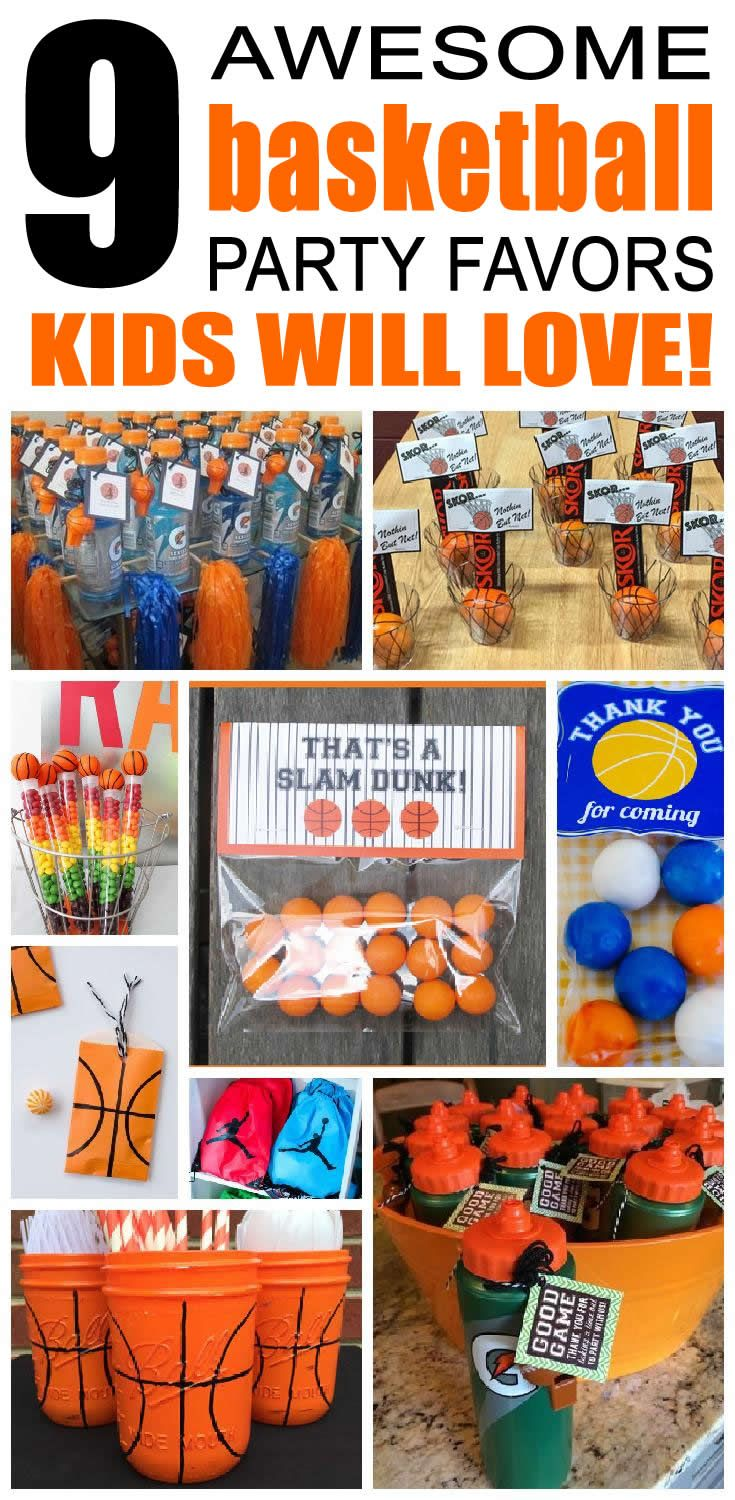 9 Basketball party favor ideas for kids. Fun basketball birthday party favors for children.