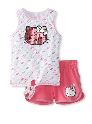 55% OFF Hello Kitty Girl's Tank & Short Set (Carmine Rose)