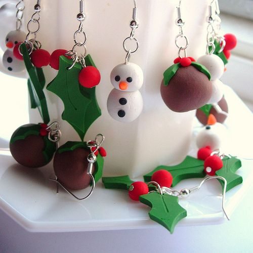 christmas fimo: Clay Ornaments, Fimo Ideas, Polymer Clay, Festive Earrings, Christmas Ornament, Diy Christmas, Clay Christmas