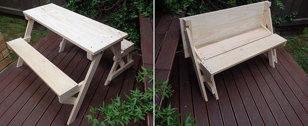 Kids foldable picnic Table.  Picnic table folds into a bench.  Downloadable plans
