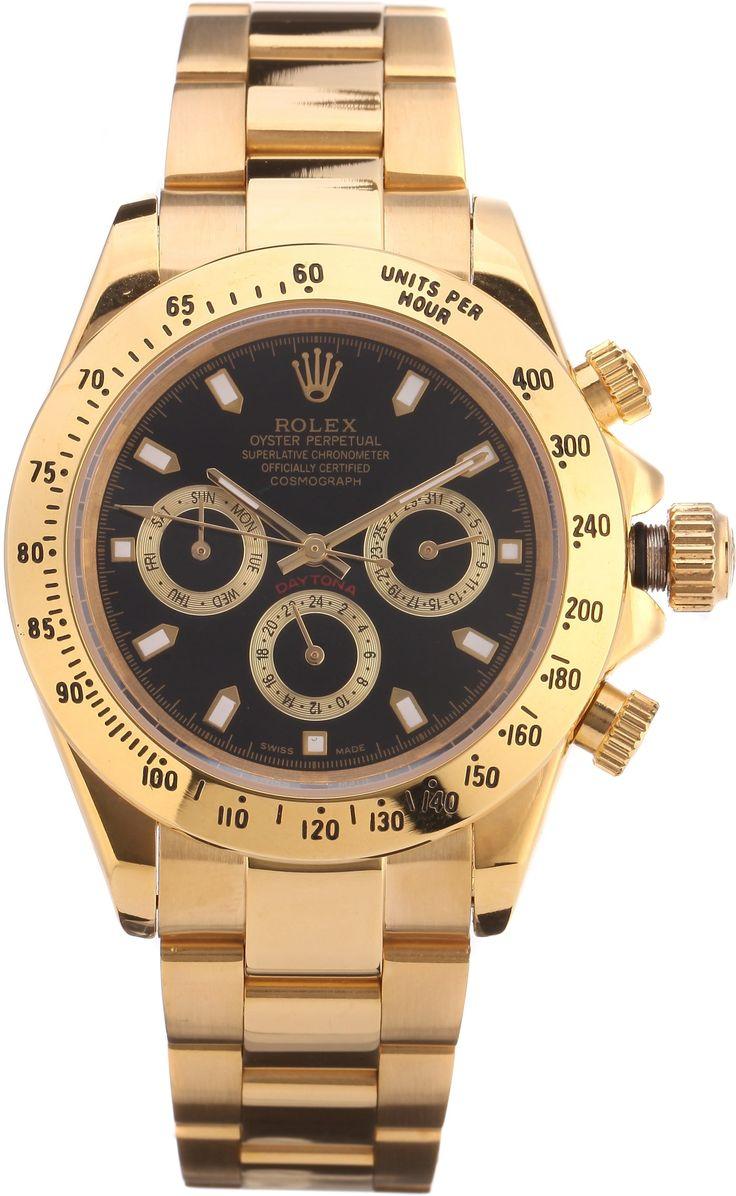 Часы Rolex Daytona золотые, черный циферблат