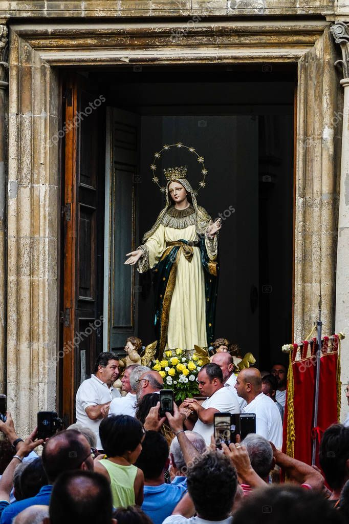 Syracuse Sicily Italy Madonna Statue Carried Back Alley ...