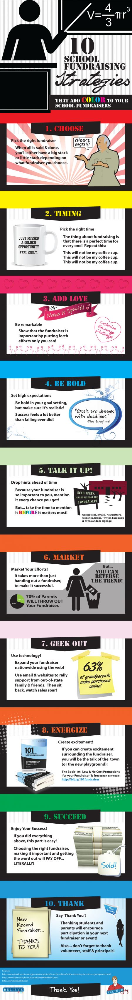 10 School Fundraising Strategies that Add Color to Your School Fundraisers... This graphic illustrates how to make the most of your school fundraiser so you can fundraise LESS but MORE EFFECTIVELY!