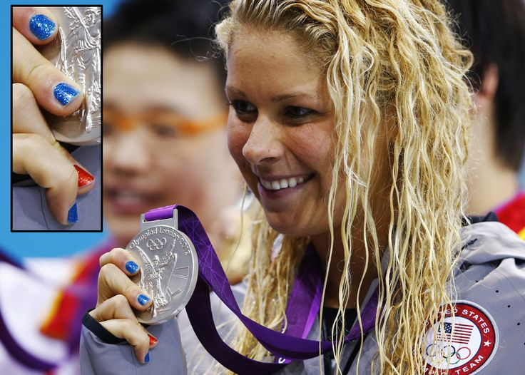 Even Women of Olympic Swimming are sporting their nail art in the 2012 London Games. #ElizabethBeisel, USA. - DIY nail art designs.