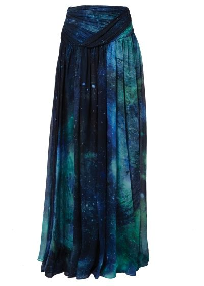 Layers to get lost in. The skirt of winter - Matthew Williamson's AW15 Sapphire Patina Galaxy Chiffon Maxi Skirt. Click to shop the look.