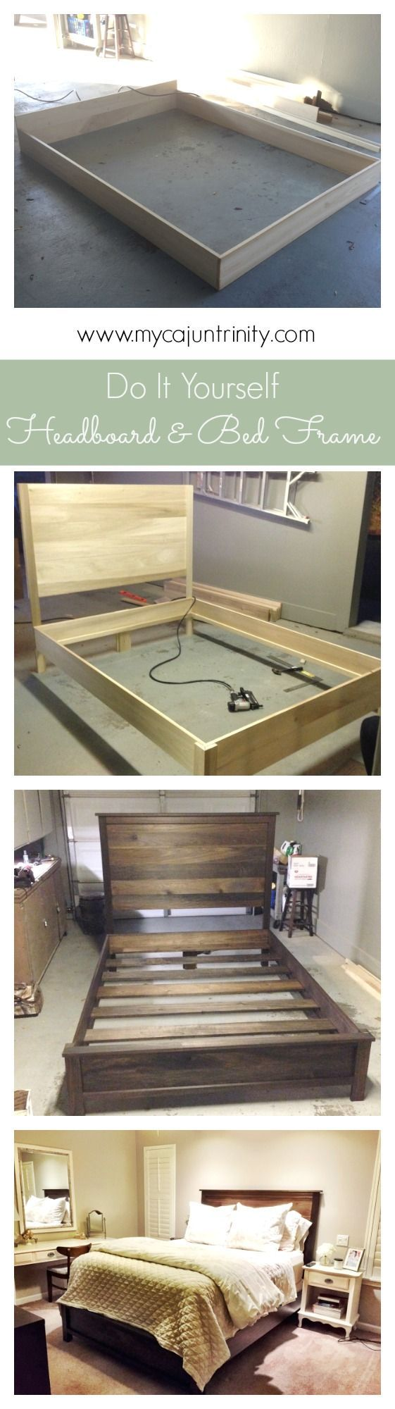 Step-by-step instructions on how to build a headboard and bed frame. Click through to see the full post which will take you through the entire DIY project.