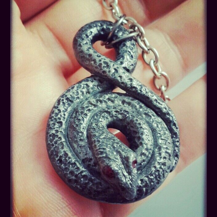 Polymer #Clay Silver #Snake #Pendant ~ made by Skullaby #Crafts