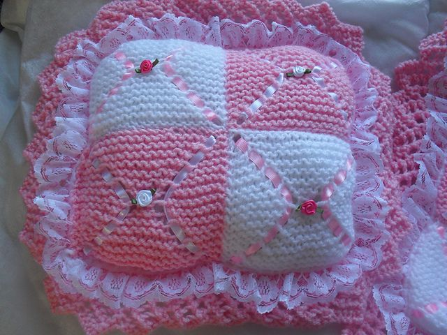 Crochet Pattern For Dolls Pram Blanket : DOLLS PRAM BLANKET & PILLOW KNITTING PATTERN pattern by ...