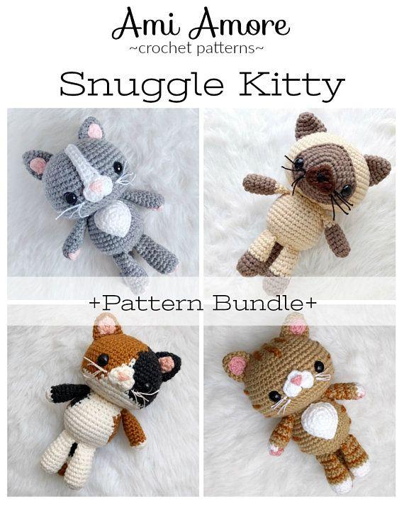 Pattern Bundle Crochet Kitty Cat Patterns 4 Amigurumi Cat Etsy Crochet Cat Stuffed Toys Patterns Crochet Phone Cases