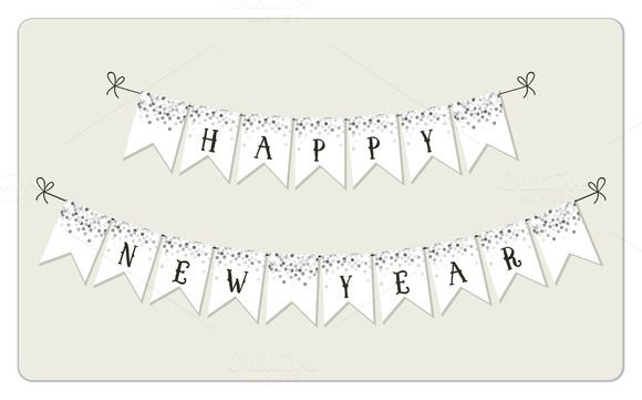 Festive winter holidays bunting by All Cute Stuff on @creativemarket